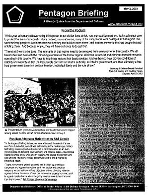 Pentagon military analyst program - A page from one of the weekly public affairs briefings distributed from defendamerica.mil in May 2003