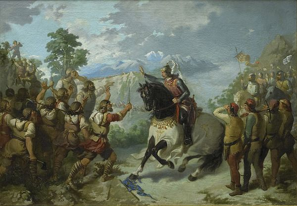 Peter the Great with his almogavars in the Battle of the Col de Panissars. Bartomeu Ribó Térriz (1866). Pere el Gran al Coll de Panissars.jpg