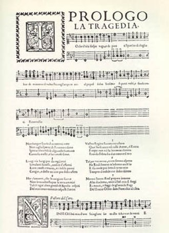 Euridice (Peri) - The Prologue, from the score published in Florence in 1600