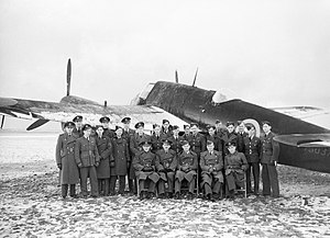 RAF Acklington - 'B' flight, No. 409 Sqn RCAF with one of their Bristol Beaufighters in January 1942.