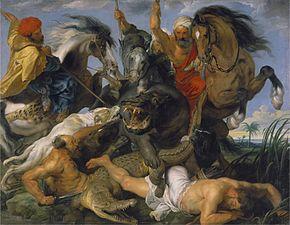 Peter Paul Rubens - Hippopotamus and Crocodile Hunt (Alte Pinakothek)