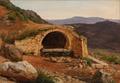 Peter Raadsig -Italiensk bjerglandskab ved en grotte - 1842.png