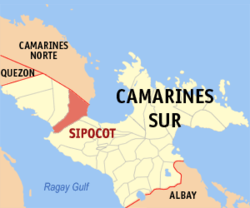 Map of Camarines Sur showing the location of Sipocot