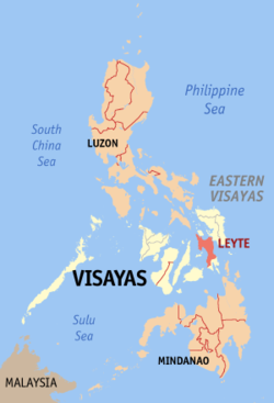 Map of the Philippines with Leyte highlighted的位置
