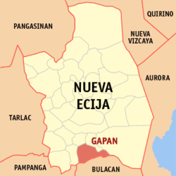 Map of Nueva Ecija showing the location of the city of Gapán.