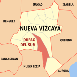 Map of Nueva Vizcaya showing the location of Dupax del Sur