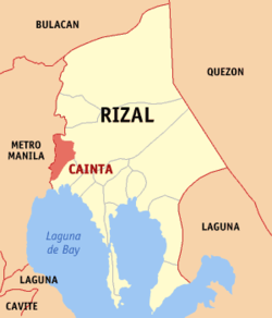 Map of Rizal showing the location of Cainta.