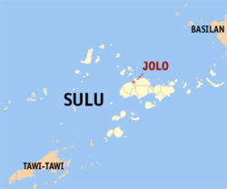 Map o Sulu showin the location o Jolo