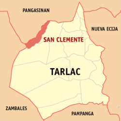 Map of Tarlac showing the location of San Clemente