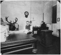 Photograph of San Francisco Mint employees and a mounted deer head in a basement office. - NARA - 296546.tif