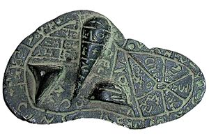 Haruspex - Diagram of the sheep's liver found near Piacenza with Etruscan inscriptions on the bronze sheep's Liver of Piacenza