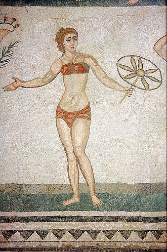 Undergarment - A mosaic from the Piazza Armerina in Sicily showing a woman wearing a strophium (breastcloth) and a subligaculum