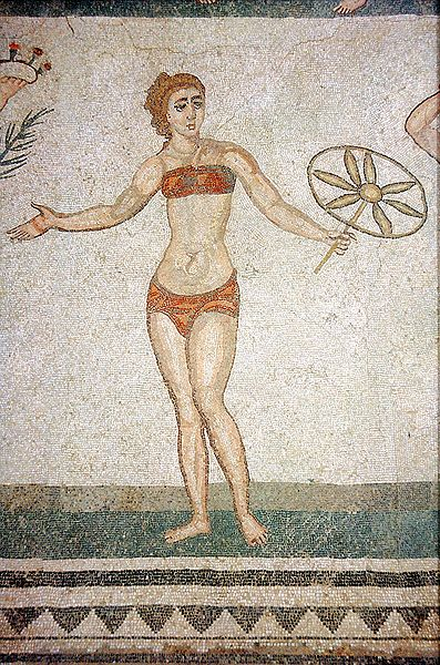 Roman Bikini from the Villa del Casale, Piazza Armerina, Sicily, sourced from Wikimedia Commons