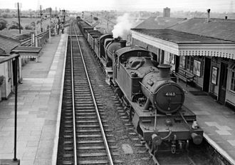 Pilning railway station - Coal train climbing up from the Severn Tunnel in 1961