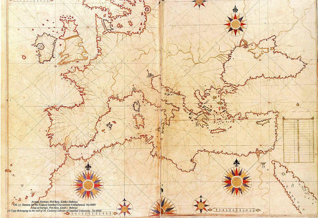 filepiri reis map of europe and the mediterranean seajpg