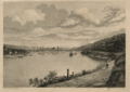 Pittsburg Pennsylvania footpath along the Ohio river with a view of the point early 1800s.PNG