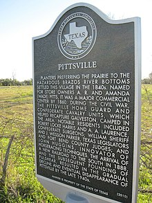 Photo of Pittsville Texas state historical marker
