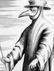 Sketch of man in beak mask and cape