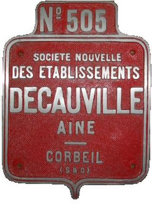 Decauville -  Name plate of the Decauville company.