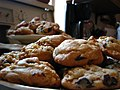 Plates of chocolate chip cookies with walnuts.jpg