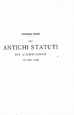 Poggi, Vittorio – Antichi statuti di Carpasio 21 luglio 1433, 1902 – BEIC 14509864.jpg