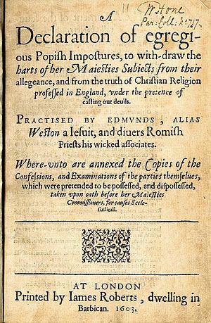 Samuel Harsnett's A Declaration of egregious Popish Impostures (1603), one of Shakespeare's sources for Lear.