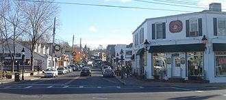 New York State Route 25A - NY 25A turns south from West Broadway to Main Street in Port Jefferson.