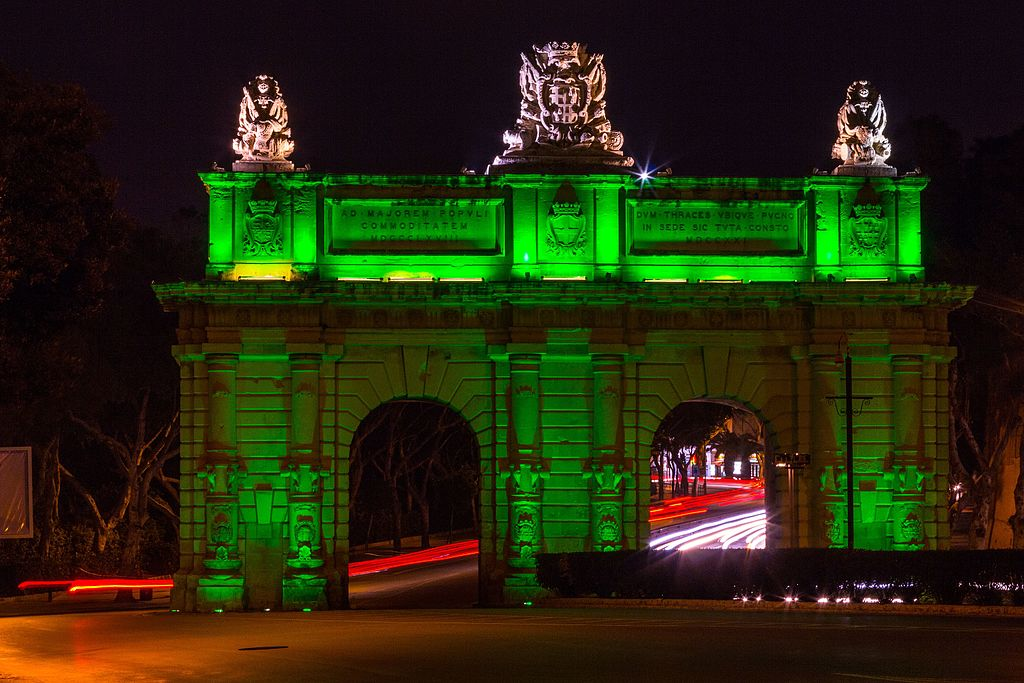 Porte des Bombes illuminated in green on Saint Patrick's Day of 2014