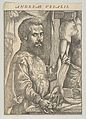 Portrait of Andreas Vesalius, half-length in profile standing in front of a table dissecting the arm of a body; frontispiece to Andreas Vesalius 'De humani corporis fabrica libri septem' MET DP853465.jpg