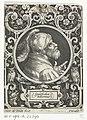 Portret van Godfried van Bouillon in medaillon binnen rechthoekige omlijsting met ornamenten Godefridus Bulonius (titel op object) De negen besten (serietitel), RP-P-1901-A-22246.jpg