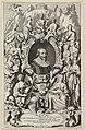 Portret van schrijver en dichter Jacob Cats op 57-jarige leeftijd in een ornamentele lijst. Rondom de lijst zitten en staan de negen muzen met hun attributen en banderollen met de titels van, NL-HlmNHA 1477 53011356.JPG