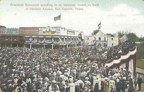 Theodore Roosevelt giving a speech at the Alamo, April 7, 1905. The picture shows the building that had been added by Hugo and Schmeltzer. PostcardTheodoreRooseveltSpeechAtTheAlamo.jpg