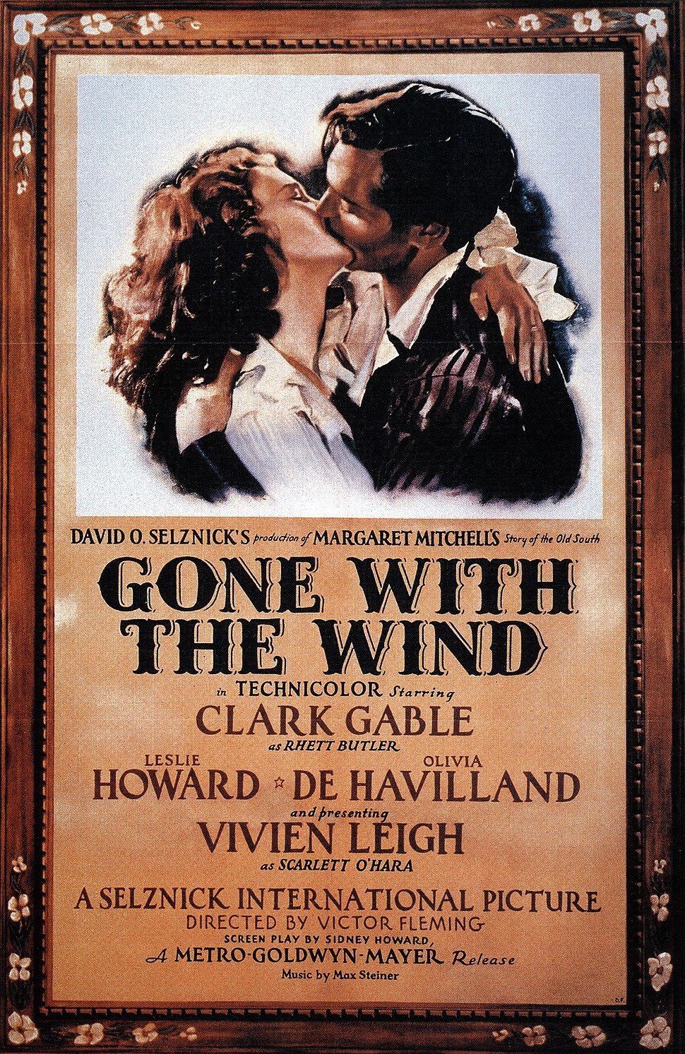 A film poster showing a man and a woman in a passionate embrace.