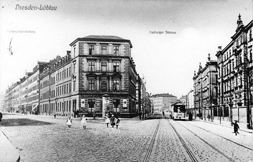 Postkarte Freiberger Straße-Hohenzollernstraße (Oederaner Straße) 1900