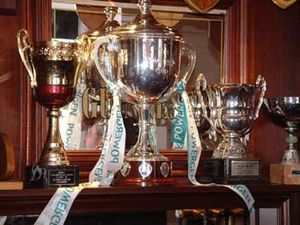 Trophy - Some loving-cup trophies seen in the London Irish clubhouse at Sunbury in 2002. The one in the centre is the Powergen Cup.