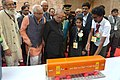 Pranab Mukherjee visiting an exhibition at the Institute of Management – Ahmadabad (IIMA), in Gujarat. The Governor of Gujarat, Shri O.P. Kohli and the Chief Minister of Gujarat, Smt. Anandiben Patel are also seen (1).jpg