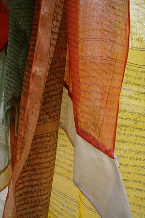 Prayer flag - Close-up view of prayer flags.