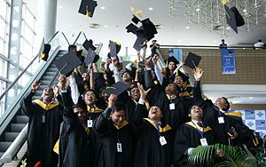 Premier University, Chittagong - Students enjoying the first convocation of Premier University