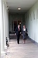 President Ronald Reagan Walking Along The Colonnade with Prime Minister Margaret Thatcher of United Kingdom During a Working Visit.jpg