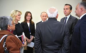 Prime Minister Narendra Modi speaks with Russian President Vladimir Putin, Austrian Federal Chancellor Christian Kern, and Moldovan President Igor Dodon on the sidelines of the St Petersburg International Economic Forum