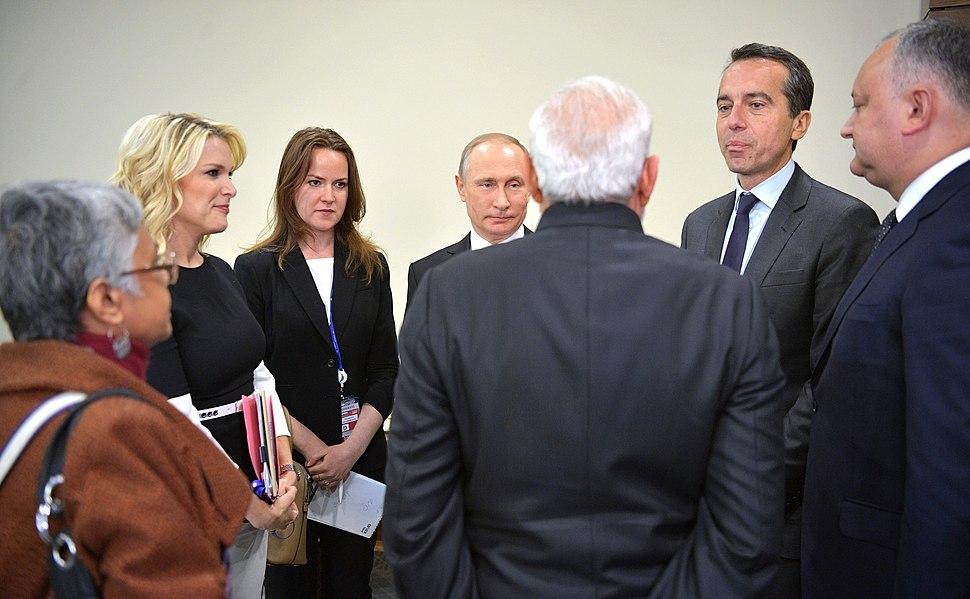 Prime Minister Narendra Modi speaks with Russian President Vladimir Putin, Austrian Federal Chancellor Christian Kern, and Moldovan President Igor Dodon on the sidelines of the St Petersburg International Economic Forum