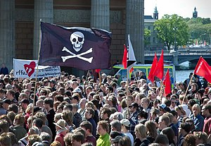 File sharing - Demonstrators protesting The Pirate Bay raid in 2006