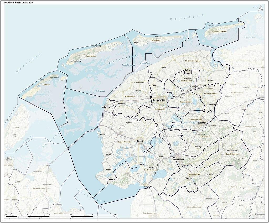 topografische kaart van friesland.