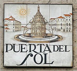 Sign of Puerta del Sol (square) in Madrid (Spain).