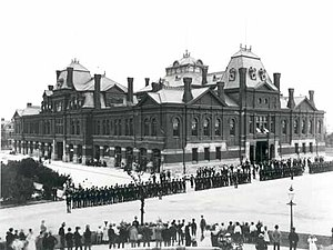 Pullman Strike - Image: Pullman strikers outside Arcade Building