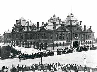 Pullman National Monument - Striking workers outside the Arcade Building