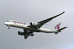 Qatar Airways Airbus A350 on finals on its first flight to London Heathrow Airport (3).jpg