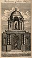 Queen's College, Oxford; gateway. Line engraving. Wellcome V0014153.jpg