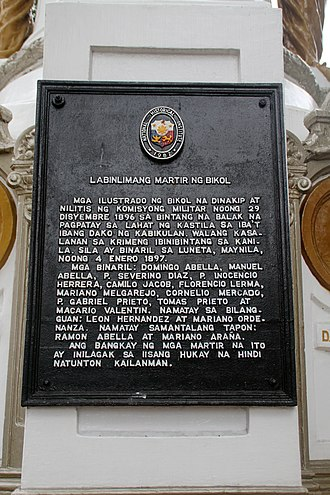 Fifteen Martyrs of Bicol - Image: Quince Martires Monuments NHI marker