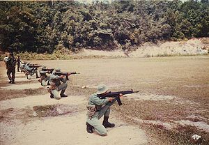 Rejimen Askar Wataniah - Soldiers of Rejimen Askar Wataniah in a shooting course with Heckler & Koch HK33A2, circa 1990s.
